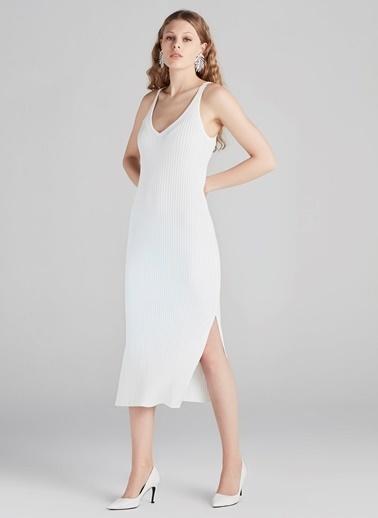 Askılı Yırtmaçlı Triko Elbise-Ipekyol